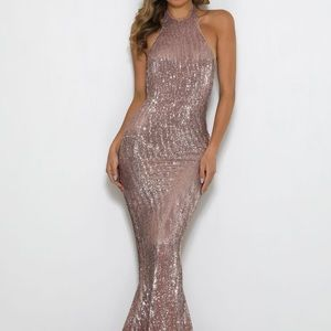 Abyss By Abby Rose Gold Alexis Sequin Gown Medium